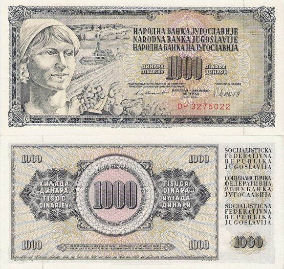 Yugoslavia banknote 1000 dinara 1981 UNC