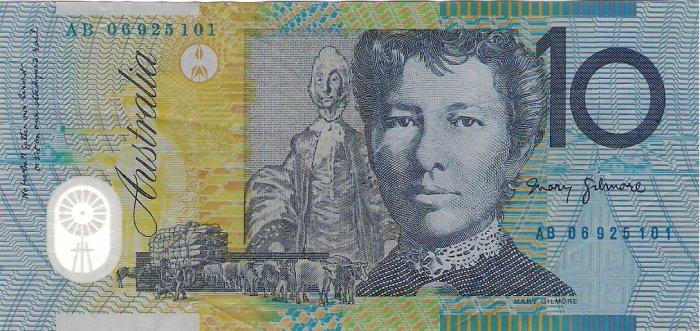 Australia banknotes 2006 10 dollars AB PREFIX VF