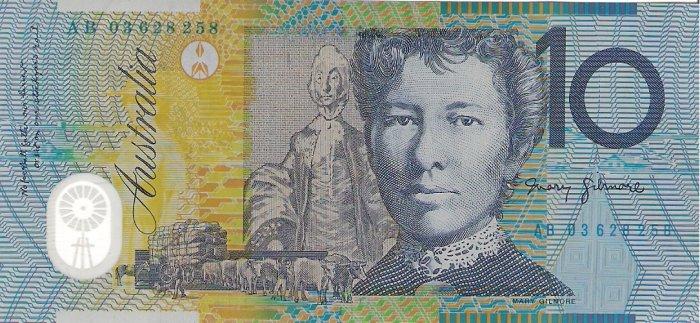 Australia banknotes 2003 10 dollars AB PREFIX EF