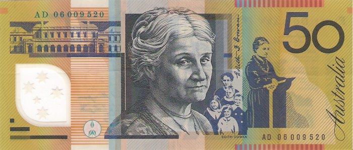 Australia banknotes 2006 50 dollars AD PREFIX gVF
