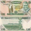 Zambia banknote 1986-88 20 kwacha UNC--RARE