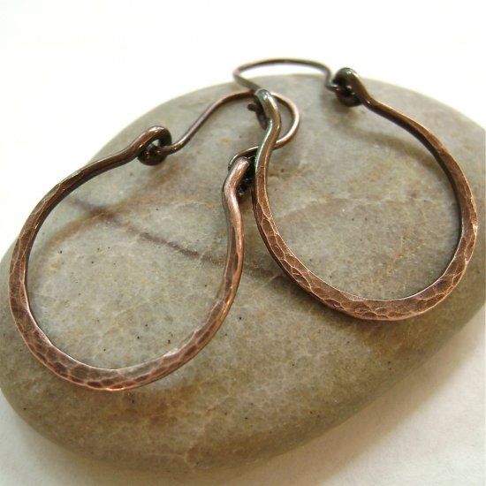 Imagine Yourself... Handforged Antique Copper Hoop Artisan Earrings.