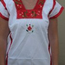 Embroidered Blouse With Red Ribbon