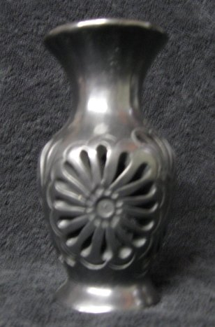 Black Clay Vase with Cutouts