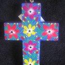 Blue Wooden Cross - Large