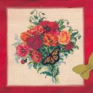 RARE SUMMER FLORAL WILD POPPIES & BUTTERFLY NEEDLEPOINT PILLOW PICTURE KIT