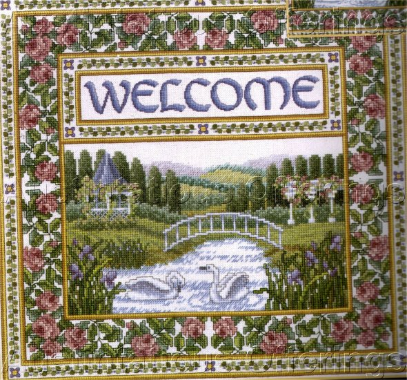 WENTZLER BEADED WELCOME CROSS STITCH KIT GARDEN BRIDGE