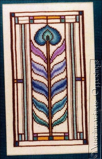 PEACOCK FEATHER STAINED GLASS ART NOUVEAU CROSS STITCH KIT DECO