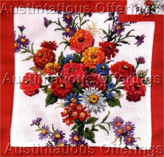 HARD TO FIND SUMMER ZINNIA FLORAL CROSS STITCH PILLOW KIT