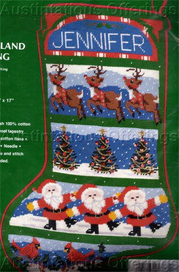 RARE SAMPLER NEEDLEPOINT CHRISTMAS STOCKING KIT REINDEER SANTA CLAUS