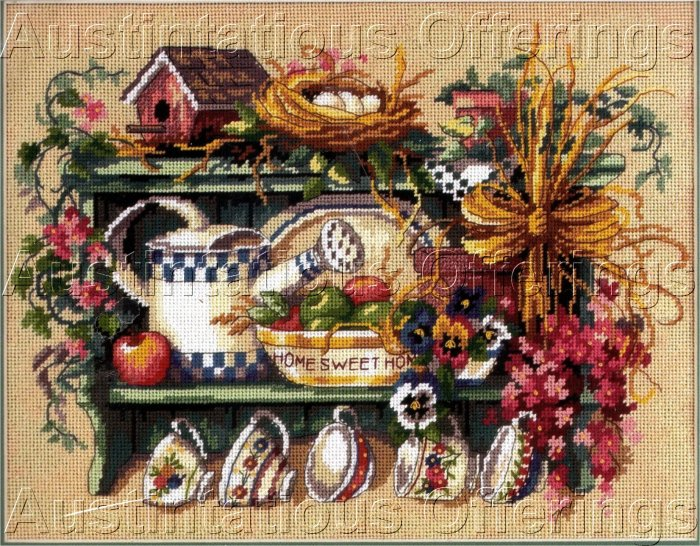RARE SIMANDLE SPRINGTIME MOMENTOS SHELF NEEDLEPOINT KIT NEST TEA CUPS
