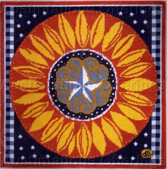 RARE PATRIOTIC PRIMITIVE FOLK ART AMERICANA STAR SUNFLOWER NEEDLEPOINT KIT BRUMFIELD