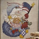 PRIMITIVE PATRIOTIC SANTA & TEDDYBEAR CROSS STITCH KIT