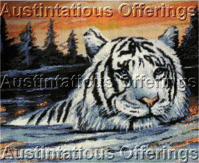 WHITE TIGER WATER CROSSING COUNTED CROSS STITCH KIT BIG JUNGLE CAT