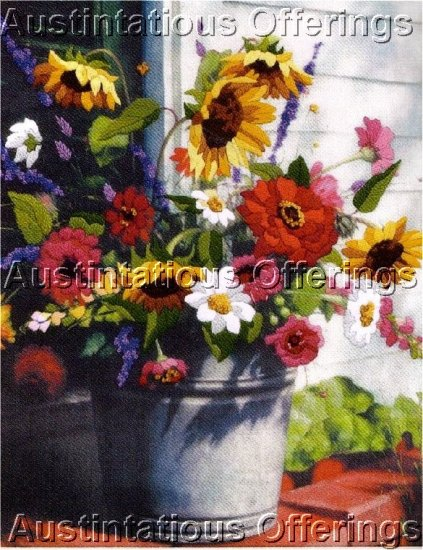 COUNTRY BOUQUET SUNFLOWER ZINNIA CREWEL EMBROIDERY KIT