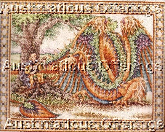 HARD TO FIND WENTZLER MEDIEVAL DRAGON CROSS STITCH KIT EVENWEAVE