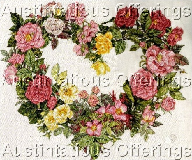 PINK YELLOW ENGLISH GARDEN ROSES CROSS STITCH KIT HEART WREATH