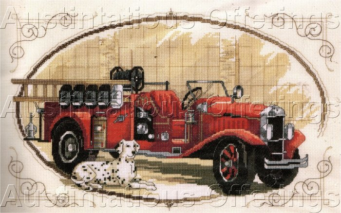 FIREFIGHTER INTEREST ROSSI VINTAGE FIRE ENGINE CROSS STITCH KIT FIRETRUCK