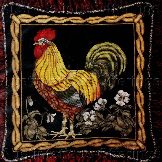 RARE CHICKEN CROSS STITCH PILLOW KIT ROOSTER STRIKING BLACK BACKGROUND