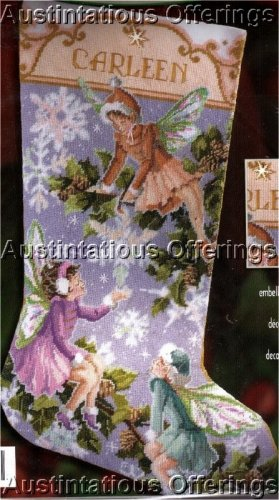RARE ROSSI WINTER SNOWFLAKE FAIRIES NEEDLEPOINT STOCKING KIT