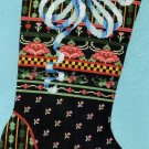 RARE VICTORIAN BLACK BAND SAMPLER CHRISTMAS  CROSS STITCH STOCKING  KIT