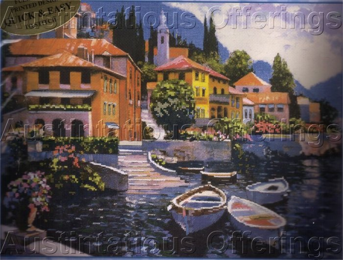 ITALIAN BOATS EMELLISHED CROSS STITCH KIT LAKE COMO MEDITERRANEAN VACATION