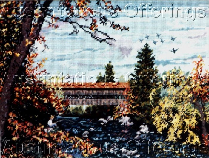 RARE EUNICE BEAM COVERED BRIDGE COUNTED NEEDLEPOINT KIT FISHING BOY