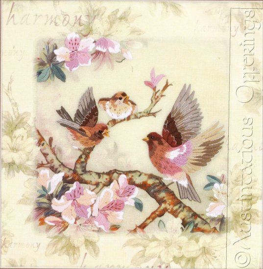 HARD TO FIND LENA LIU PURPLE FINCH FLORAL CREWEL EMBROIDERY KIT
