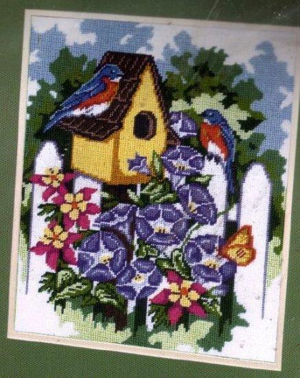 RARE PETERSON BLUEBIRD HOUSE COTTAGE GARDEN FENCE NEEDLEPOINT KIT