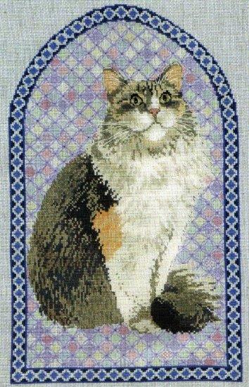 RARE IVORY LONGHAIRED CAT CROSS STITCH KIT AGNEATHEA