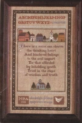 RARE LINEN COLONIALSCHOOLHOUSE SAMPLER CROSS STITCH KIT