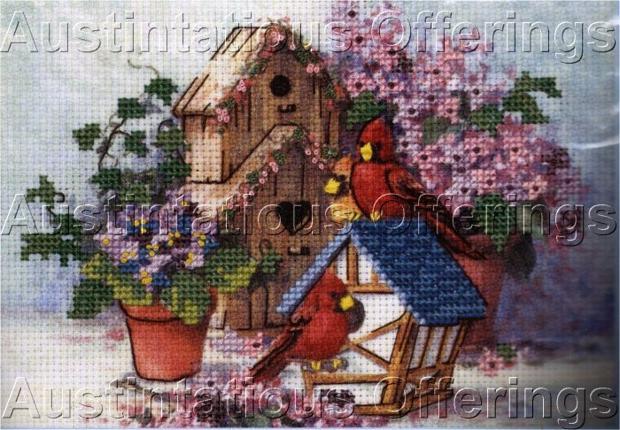 NO COUNT BIRDHOUSE CROSS STITCH KIT CARDINALS FLOWERS