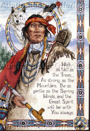 NATIVE AMERICAN CROSS STITCH CHART & CHARMS ~ WOLF, PEACE PIPE