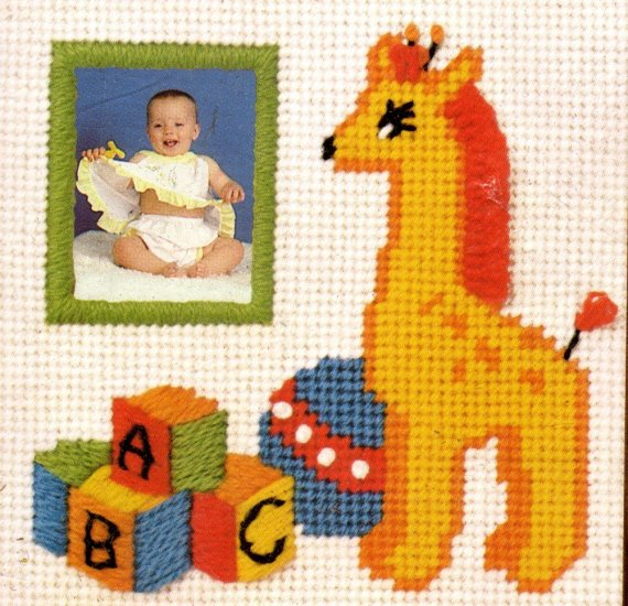 CHILD'S PHOTO FRAME JIFFY NEEDLEPOINT KIT GIRAFFES