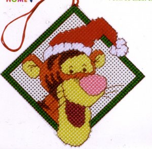 Tigger Christmas Ornaments.Santa Hat Tigger Cross Stitch Kit Christmas Ornament