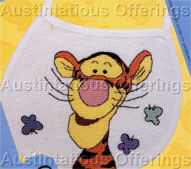BOUNCY TIGGER BABY BIB BUTTERFLIES CROSS STITCH KIT