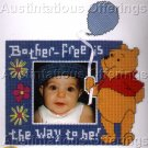 COUNTED CROSS STITCH KIT POOH BEAR PICTURE FRAME, BLUE BALLOON