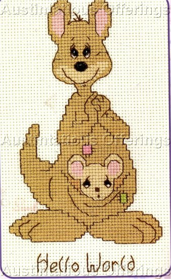 CROSS STITCH KIT KANGAROO & BABY IN POUCH HELLO WORLD