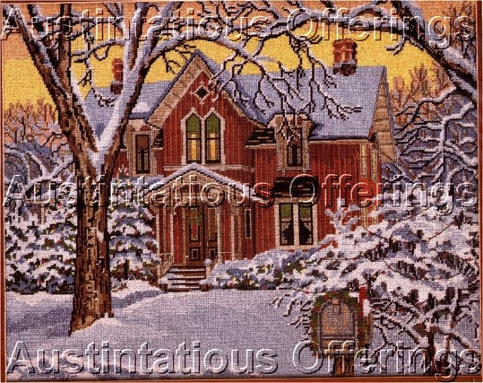 RARE SLOANE WINTER HOME FOR CHRISTMAS NEEDLEPOINT KIT THE OLD BRICK FARMHOUSE