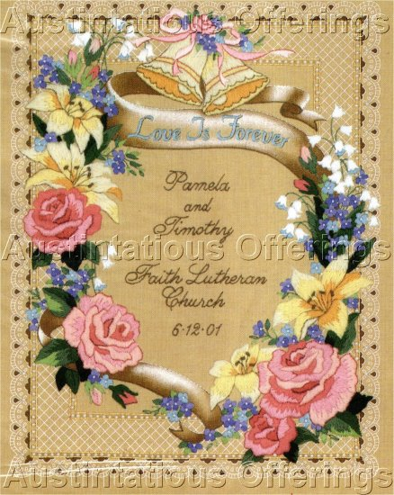 ROSE FLORAL WEDDING RECORD CREWEL  EMBROIDERY KIT