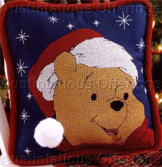 SANTA POOH BEAR SNOWY CHRISTMAS CROSS STITCH PILLOW KIT
