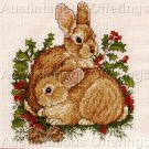 RARE CHRISTMAS TRADITIONS WOODLAND BUNNIES HOLLY BERRIES MINI CROSS STITCH KIT