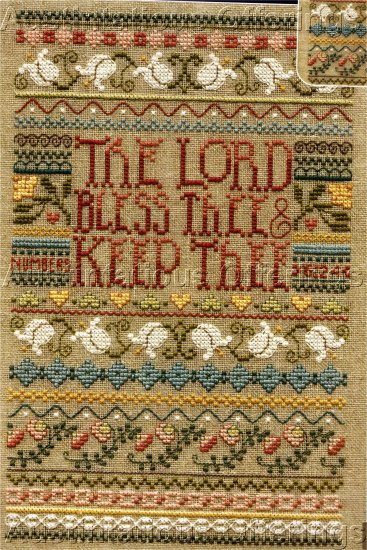 INSPIRATIONAL PRAYING HANDS BENEDICTION CROSS STITCH LINEN SAMPLER KIT LORD BLESS THEE