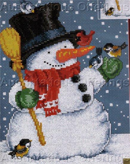 CHRISTMAS CROSS STITCH KIT SNOWMAN BLUE BIRDS, CARDINAL