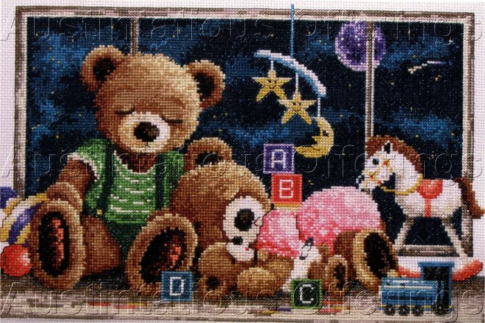 RARE FIONA JUDE TEDDY BEAR FAMILY CROSS STITCH KIT NIGHT TIME NURSERY TOYS