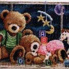 RARE FIONA JUDE TEDDY BEAR FAMILY CROSS STITCH KIT NIGHT TIME NURSERY TOYS