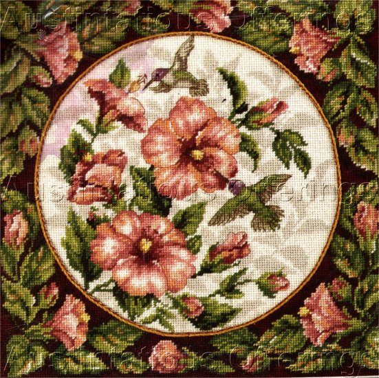 RARE MOSKAL HIBISCUS FLORAL HUMMINGBIRDS NEEDLEPOINT PILLOW KIT