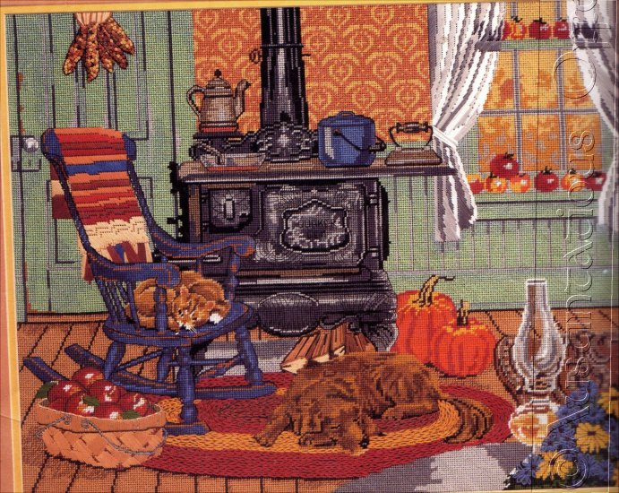 RARE SLOANE FALL HARVEST KITCHEN NEEDLEPOINT KIT PUMPKINS FAITHFUL DOG