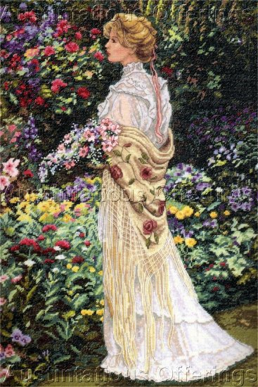 HTF SANDRA KUCK SUMMER FLORAL GARDEN ROMANCE CROSS STITCH KIT ELEGANT LADY