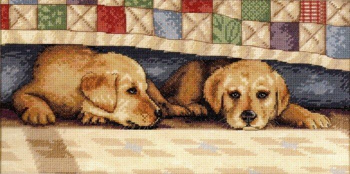 RARE PUPPY LOVE DALE TREMBLAY BEGLEY DOG CROSS STITCH KIT YELLOW LAB RETRIEVER
